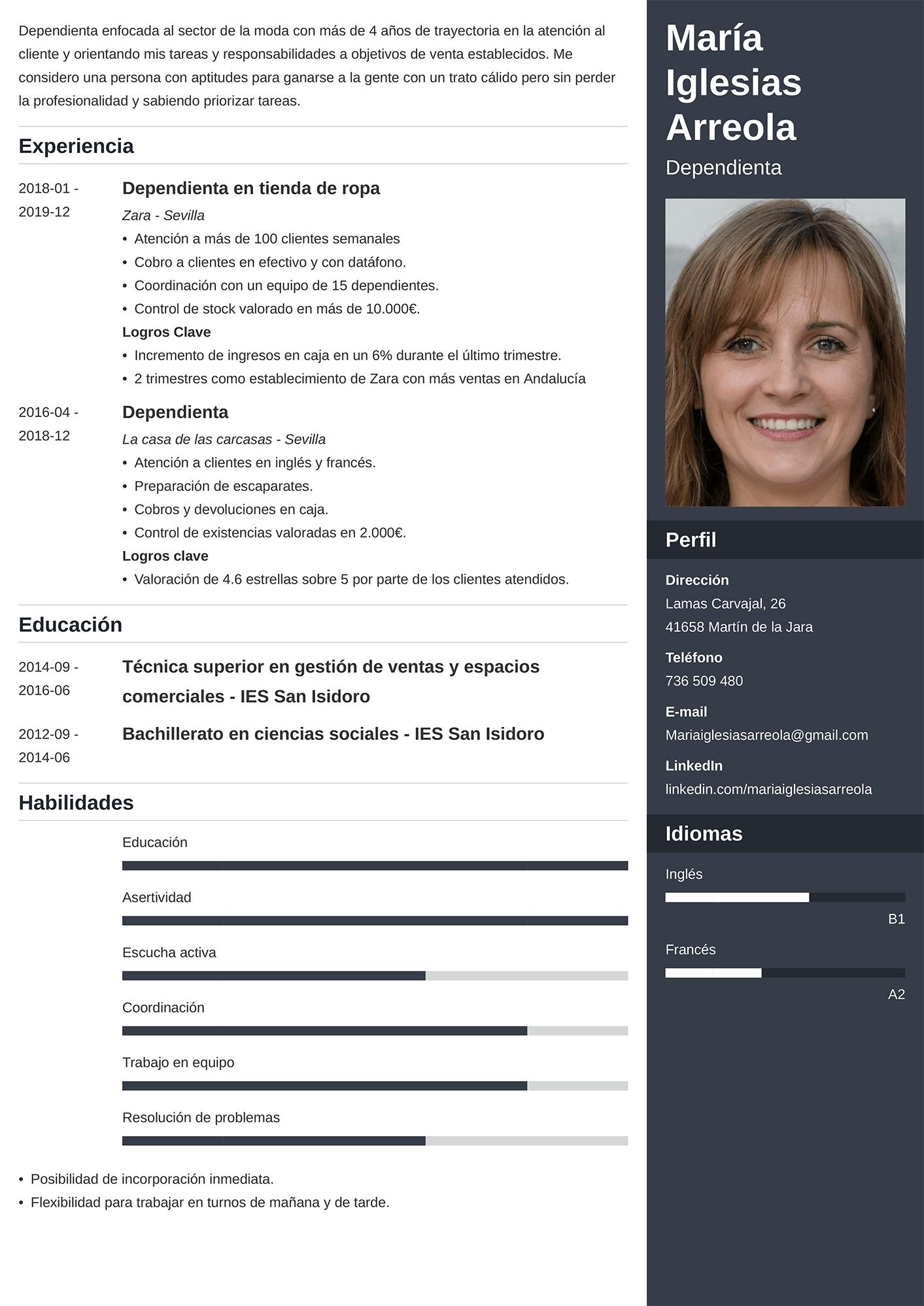Currículum de Dependienta