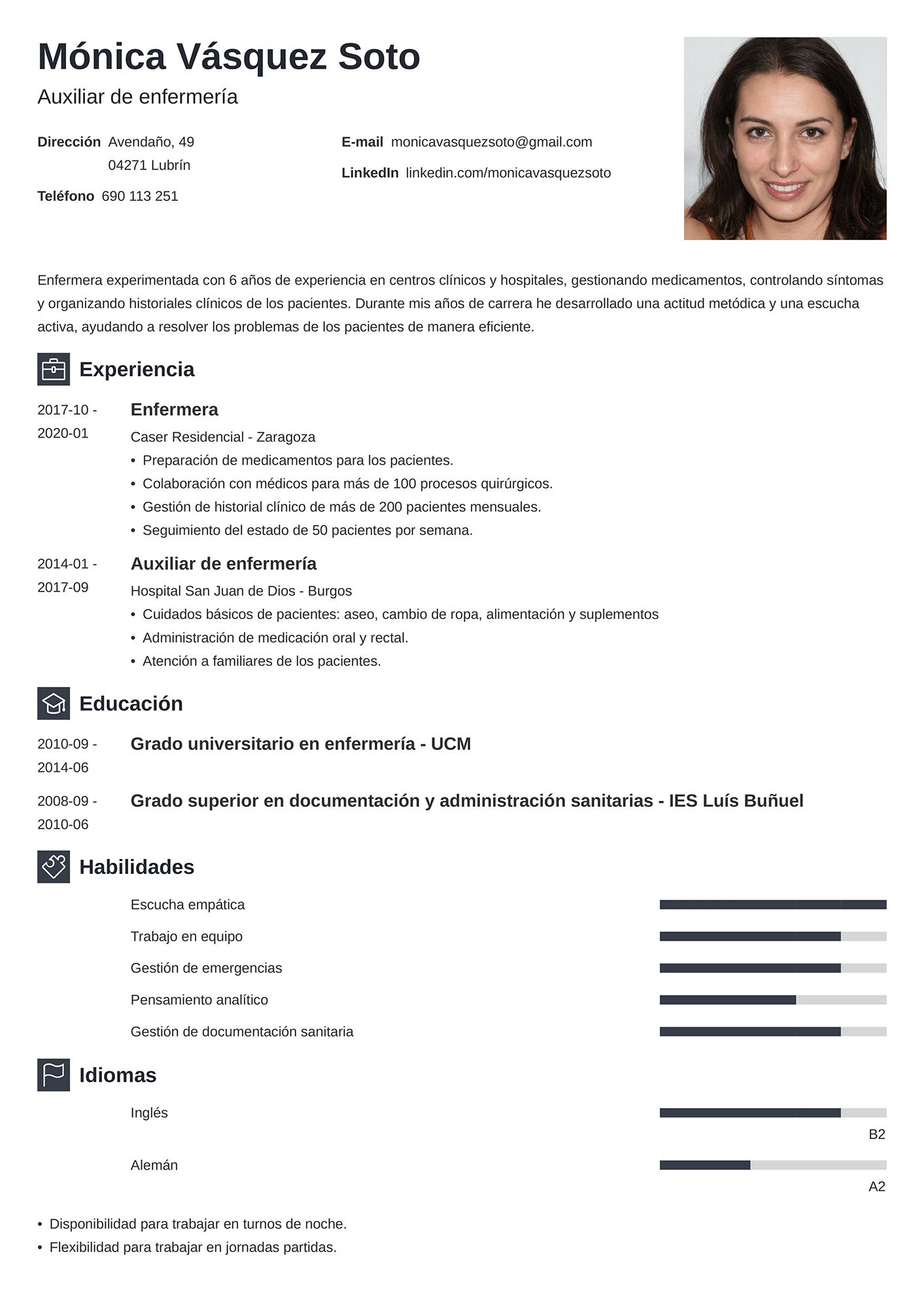 Currículum de enfermera