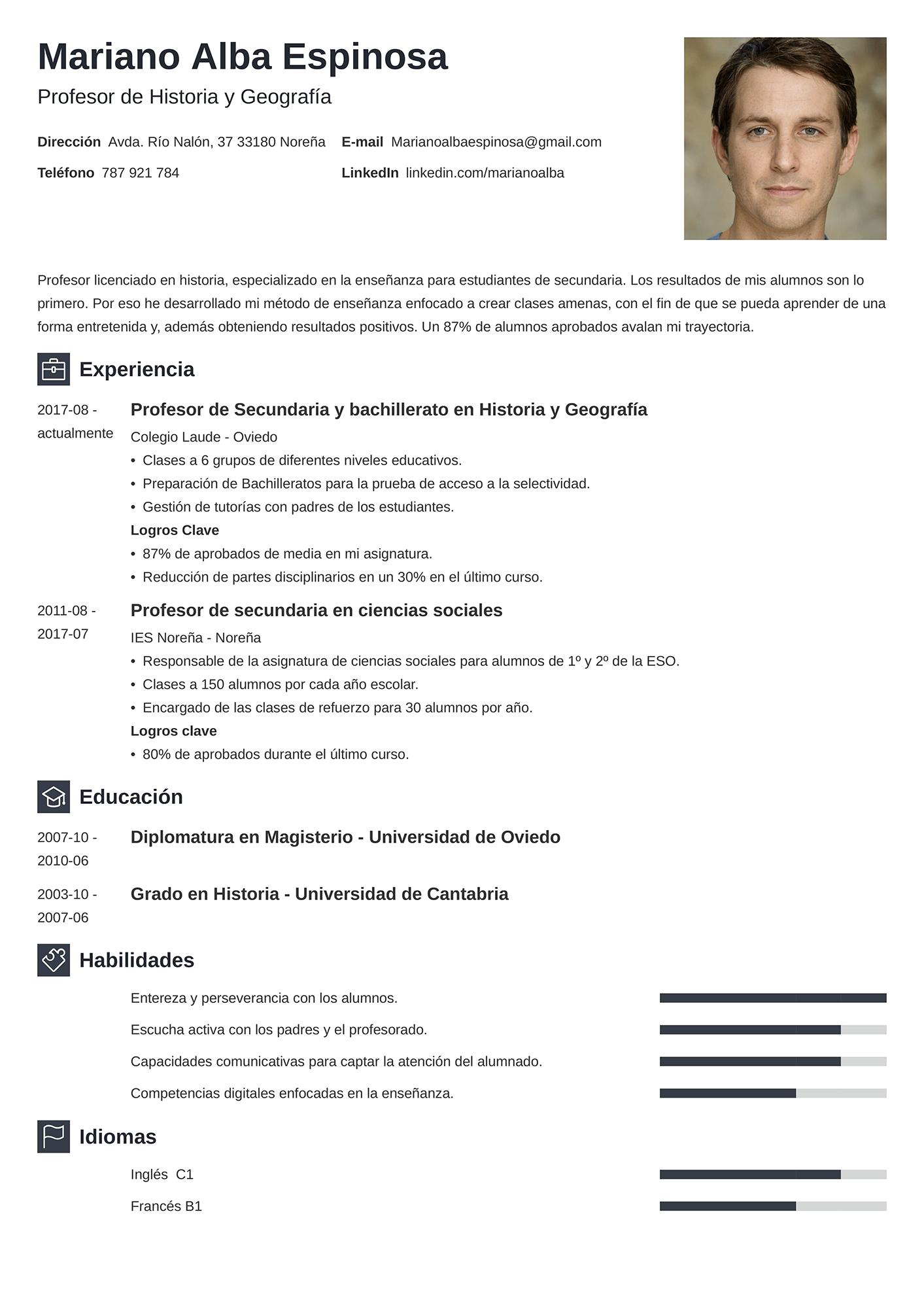 Currículum de Profesor
