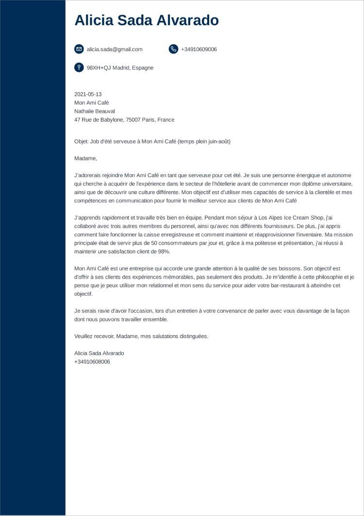 carta de presentacion frances concept