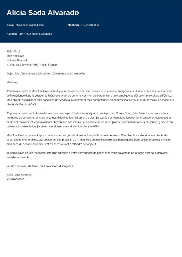 carta de presentacion frances influx