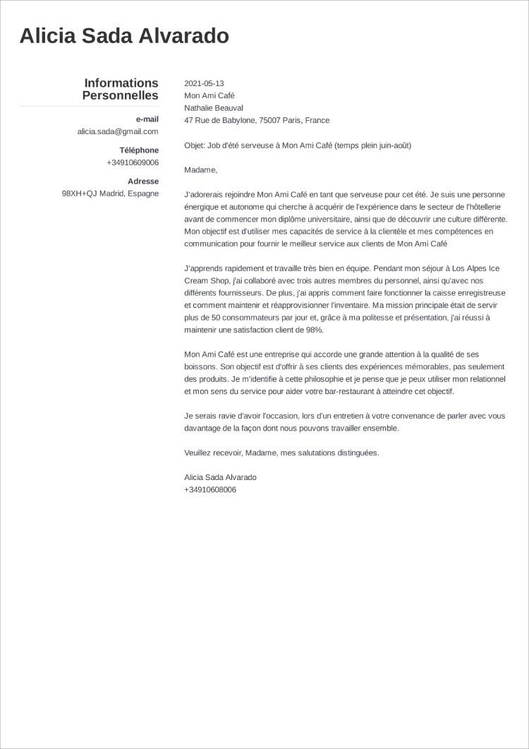carta de presentacion frances simple
