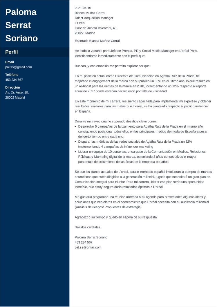 carta presentacion general cascade