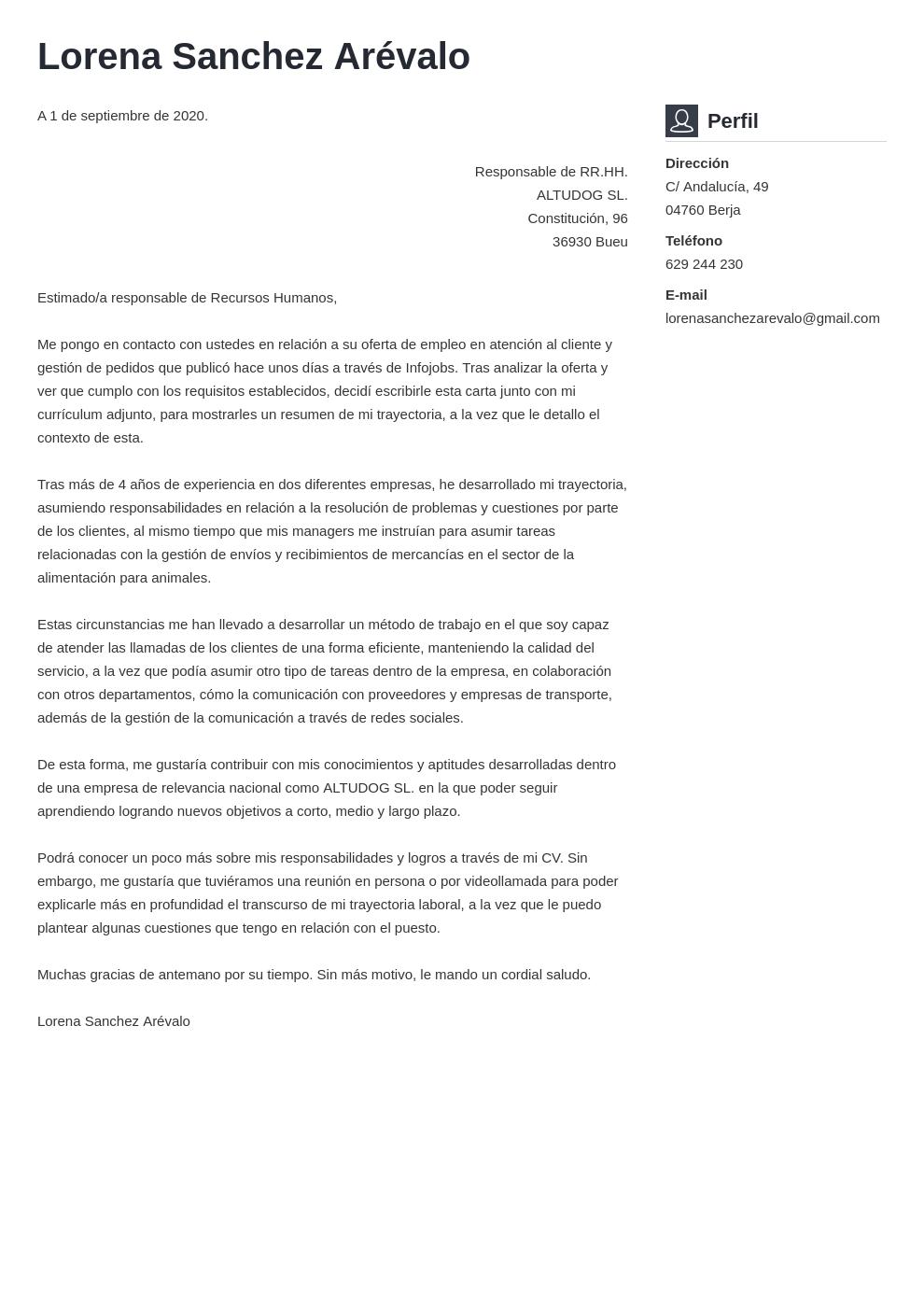 Ejemplo De Carta De Presentación Para Atención Al Cliente
