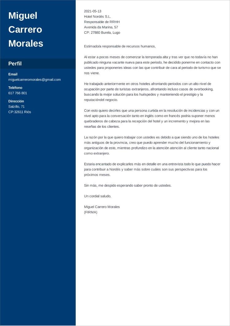carta de presentacion autocandidatura