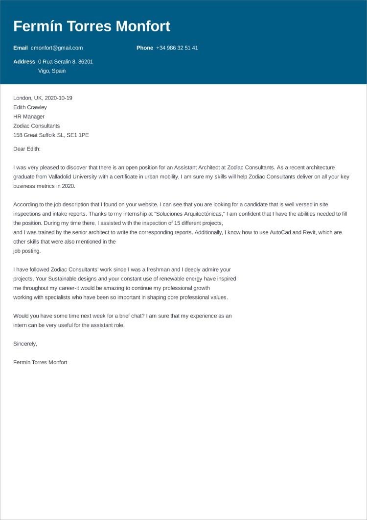 carta de presentacion ingles
