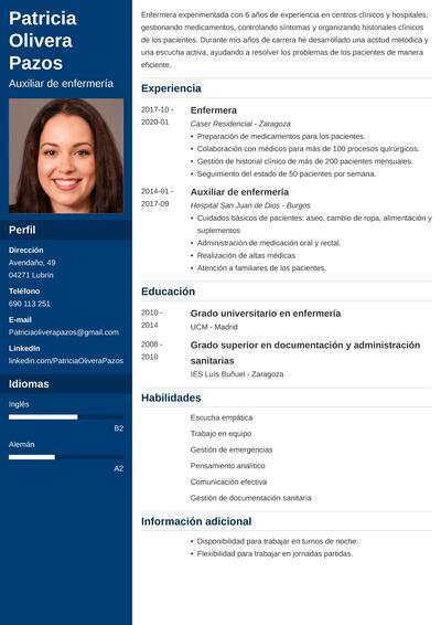 curriculum enfermera