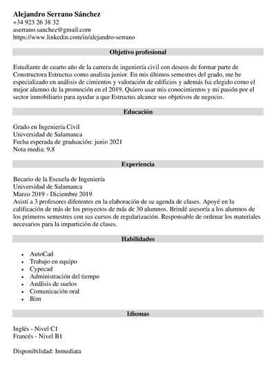 curriculum estudiante