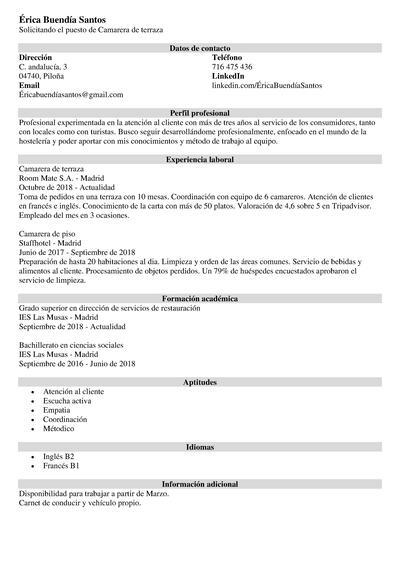 curriculum hosteleria