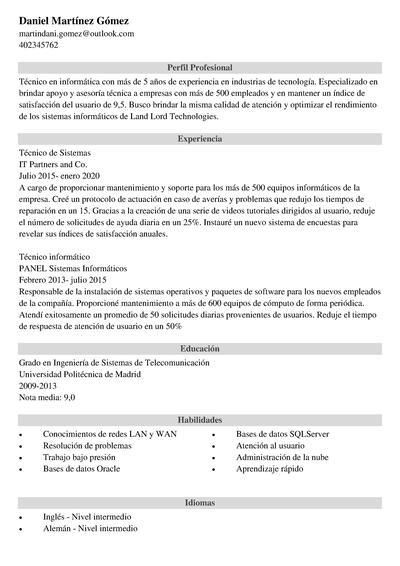 curriculum informatico