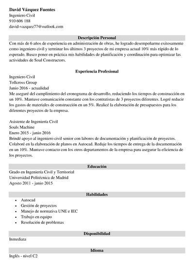curriculum ingeniero civil