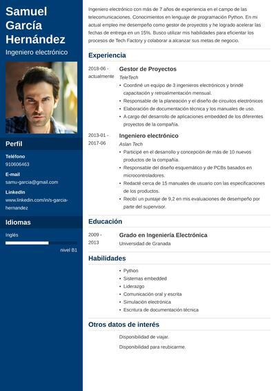 curriculum ingeniero electronico