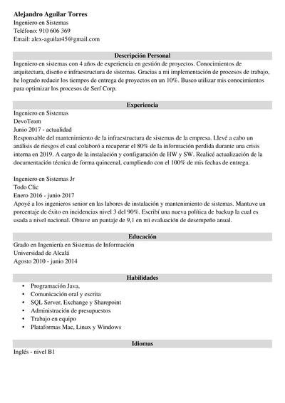 curriculum ingeniero en sistemas