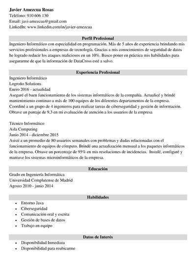 curriculum ingeniero informatico