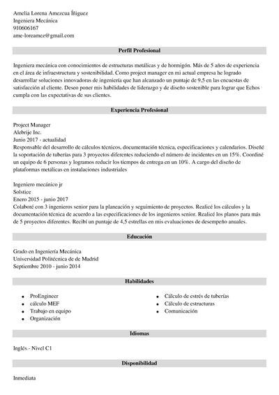 curriculum ingeniero mecanico