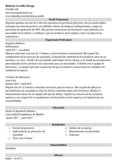 curriculum ingeniero quimico