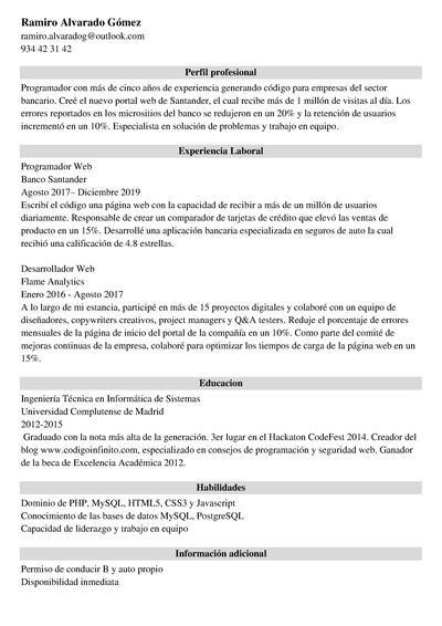 curriculum programador