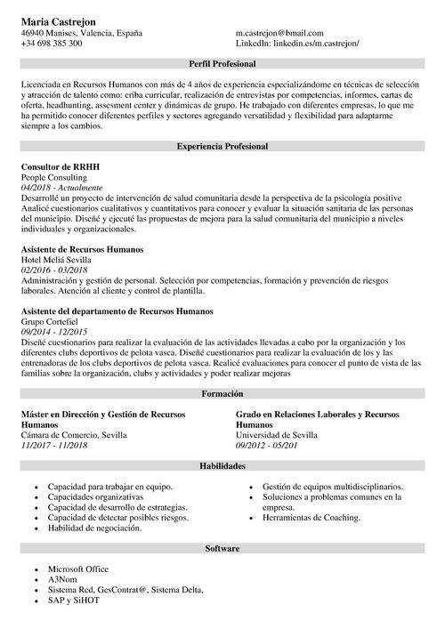 curriculum recursos humanos