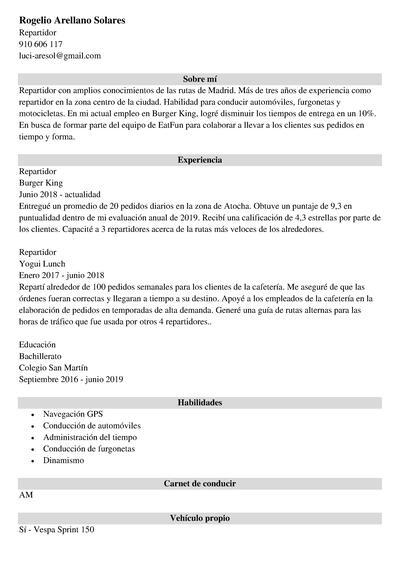curriculum recepcionista