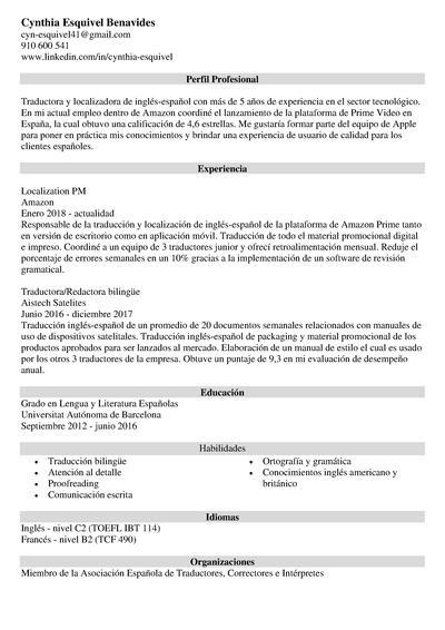 curriculum traductor