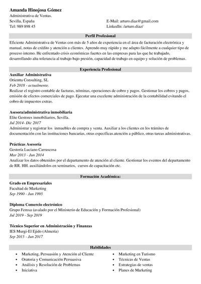cv administrativo