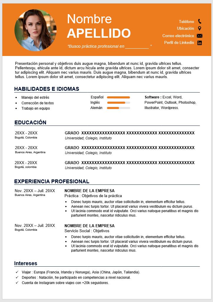 Plantilla de CV Gratis en Word Para Prácticas
