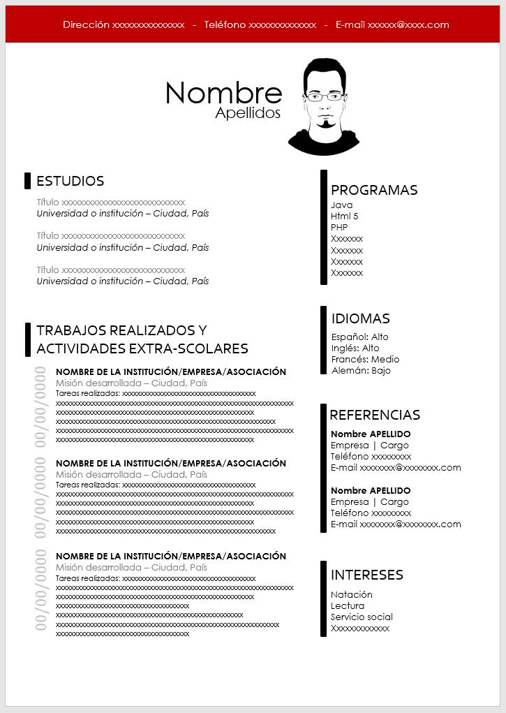 Modelo de Currículum sin Experiencia